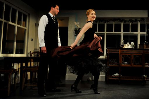 "Dominic Rowan as Torvald and Hattie Morahan as Nora in a London production of ""A Doll's House"""