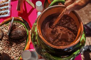 Cacao fruit, cacao seed and chocolate being prepared
