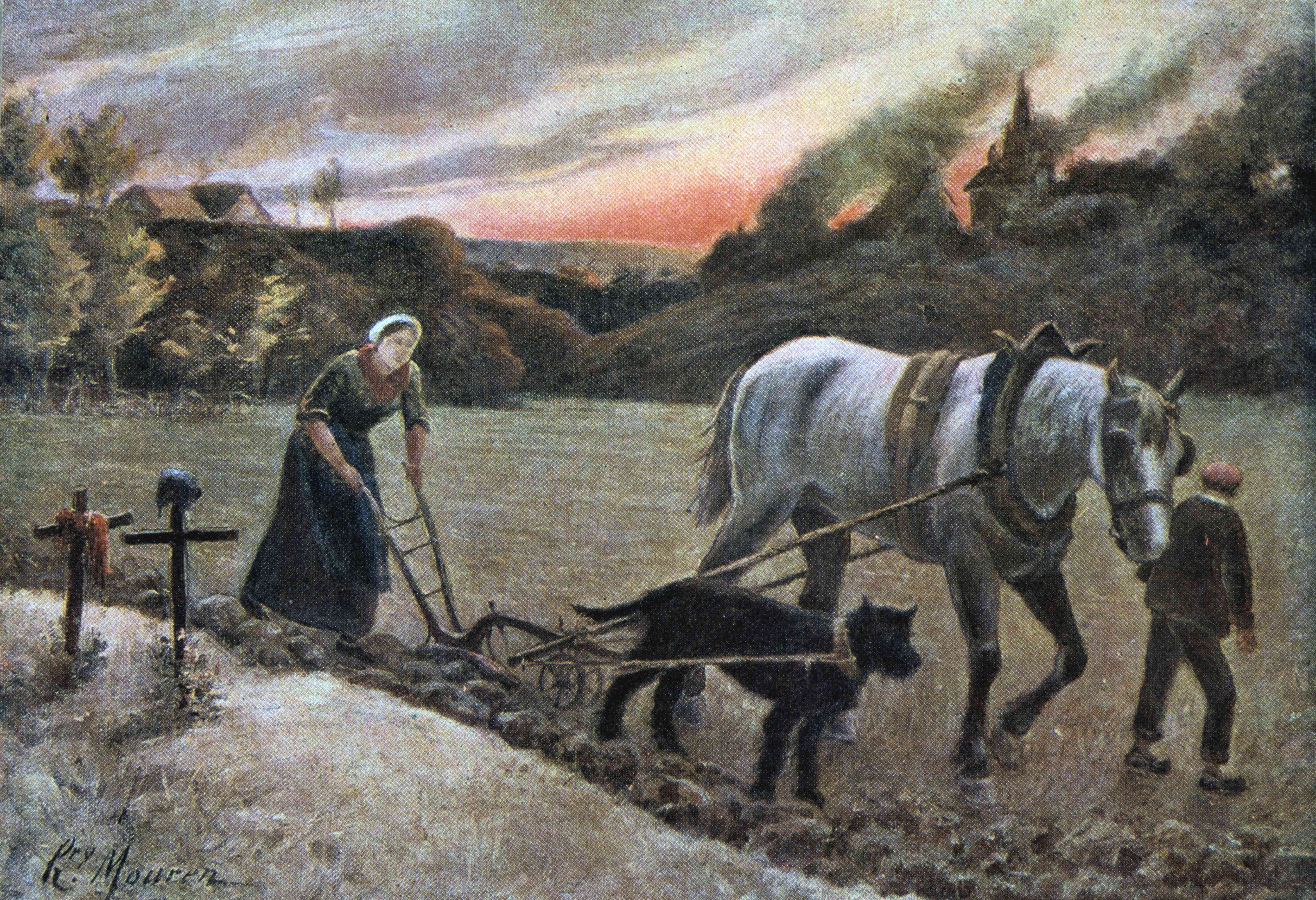 Woman plows a field with her dog and work horse.