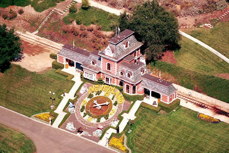 Detailed aerial view of the iconic train station at Michael Jackson's Neverland Valley Ranch, Santa Ynez, Calif.