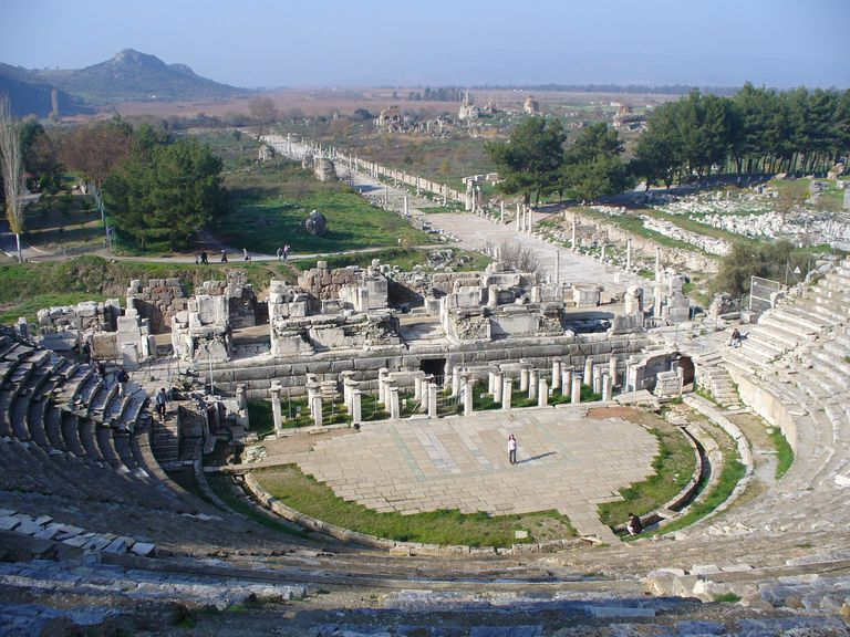 The 32 000 capacity Roman theatre in Ephesus, still used for concerts and special events.