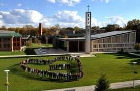 The main quad at Sacred Heart University