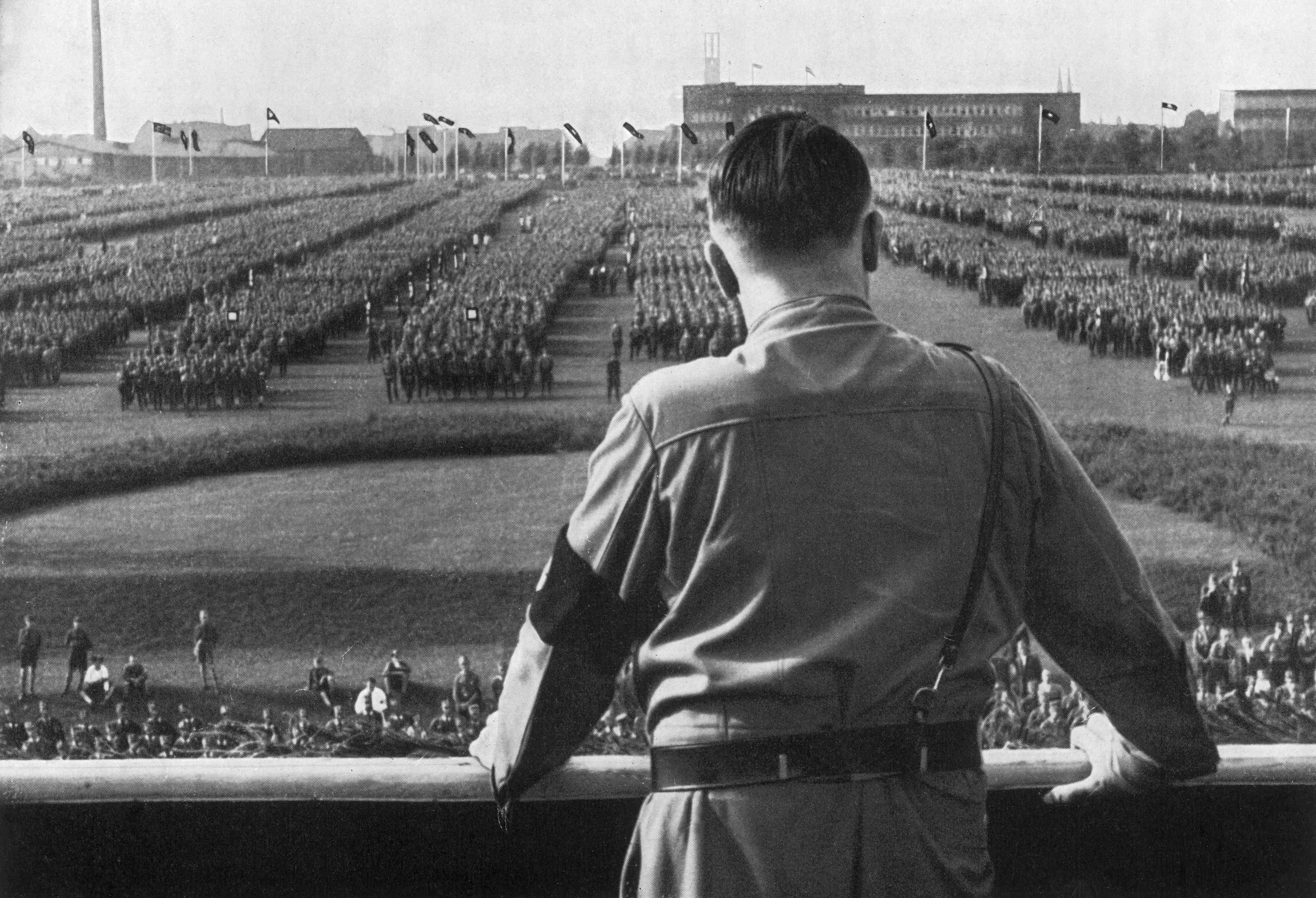 German Fuhrer and Nazi leader Adolf Hitler addresses soldiers at a Nazi rally in Dortmund, Germany
