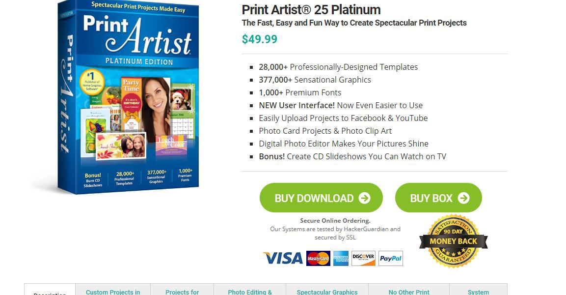 Screenshot of Print Artist website