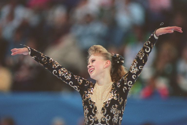 Oksana Baiul skates at the 1993 Skate America