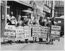Group protesting racial discrimination in Apartheid-era South Africa