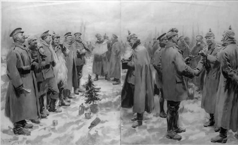 German and British troops celebrating Christmas to