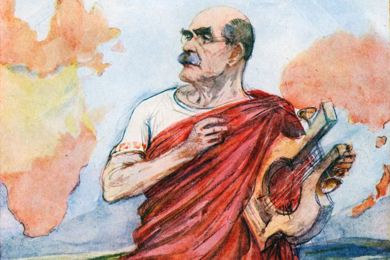 'The Singer of Empire', Rudyard Kipling, 1935. painting