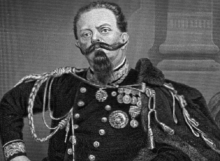 Ink portrait of King Victor Emmanuel II of Italy.