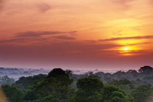 Sunrise over the Amazon River Basin