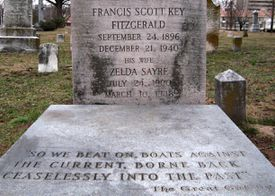 F. Scott Fitzgerald's grave showing the epitaph and a quote from