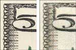 Comparison between genuine and counterfeit border on American paper currency