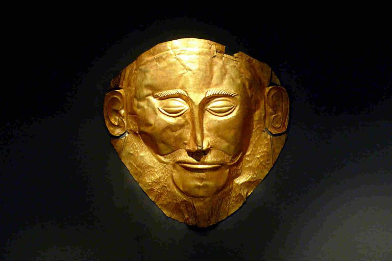 Gold Mask of Agamemnon on display.