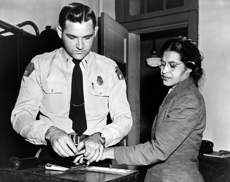 Rosa Parks getting fingerprinted by police
