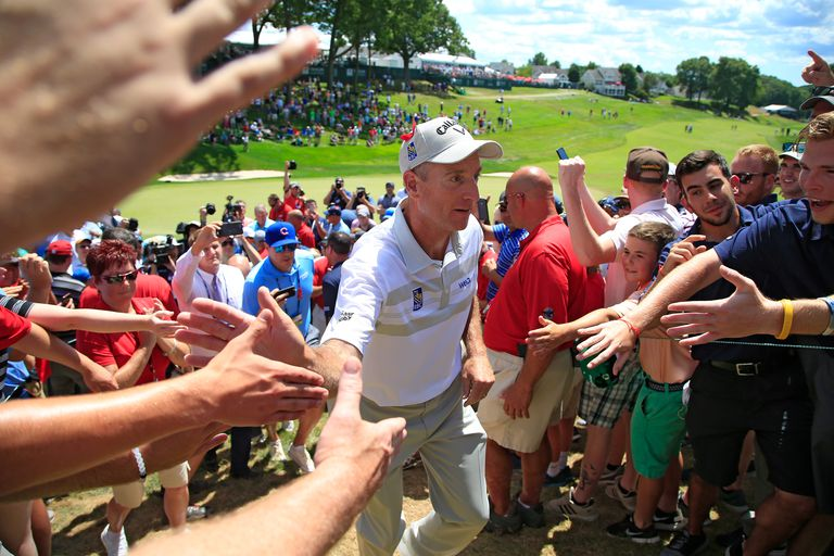 Jim Furyk of the U.S. comes off the course after a shooting a record setting 58 during the final round of the 2016 Travelers Championship