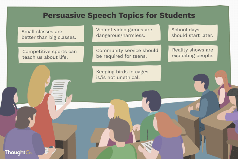 Illustration of students in a classroom looking at list of persuasive speech topics