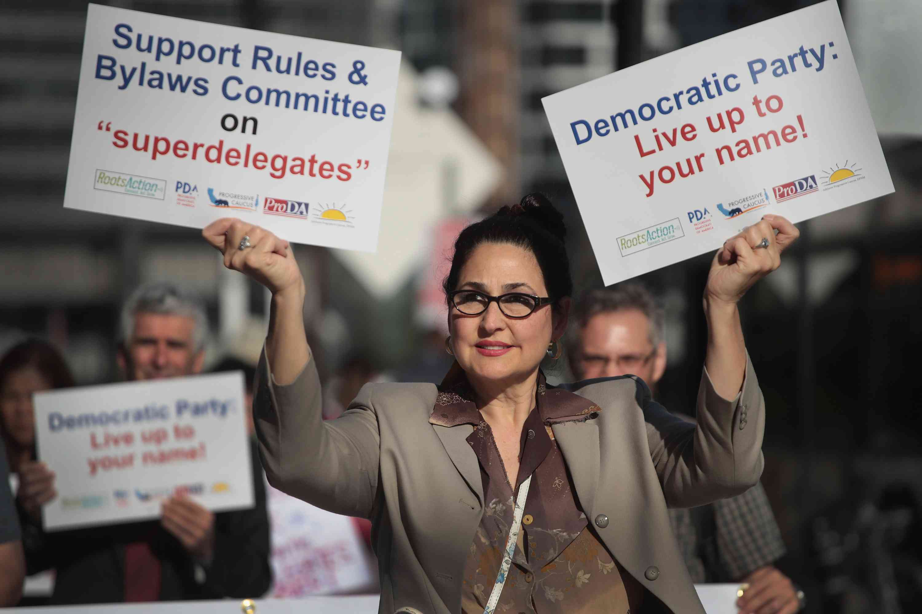 Demonstrators protest the use of superdelegates by the Democratic party, August 23, 2018 in Chicago, Illinois.