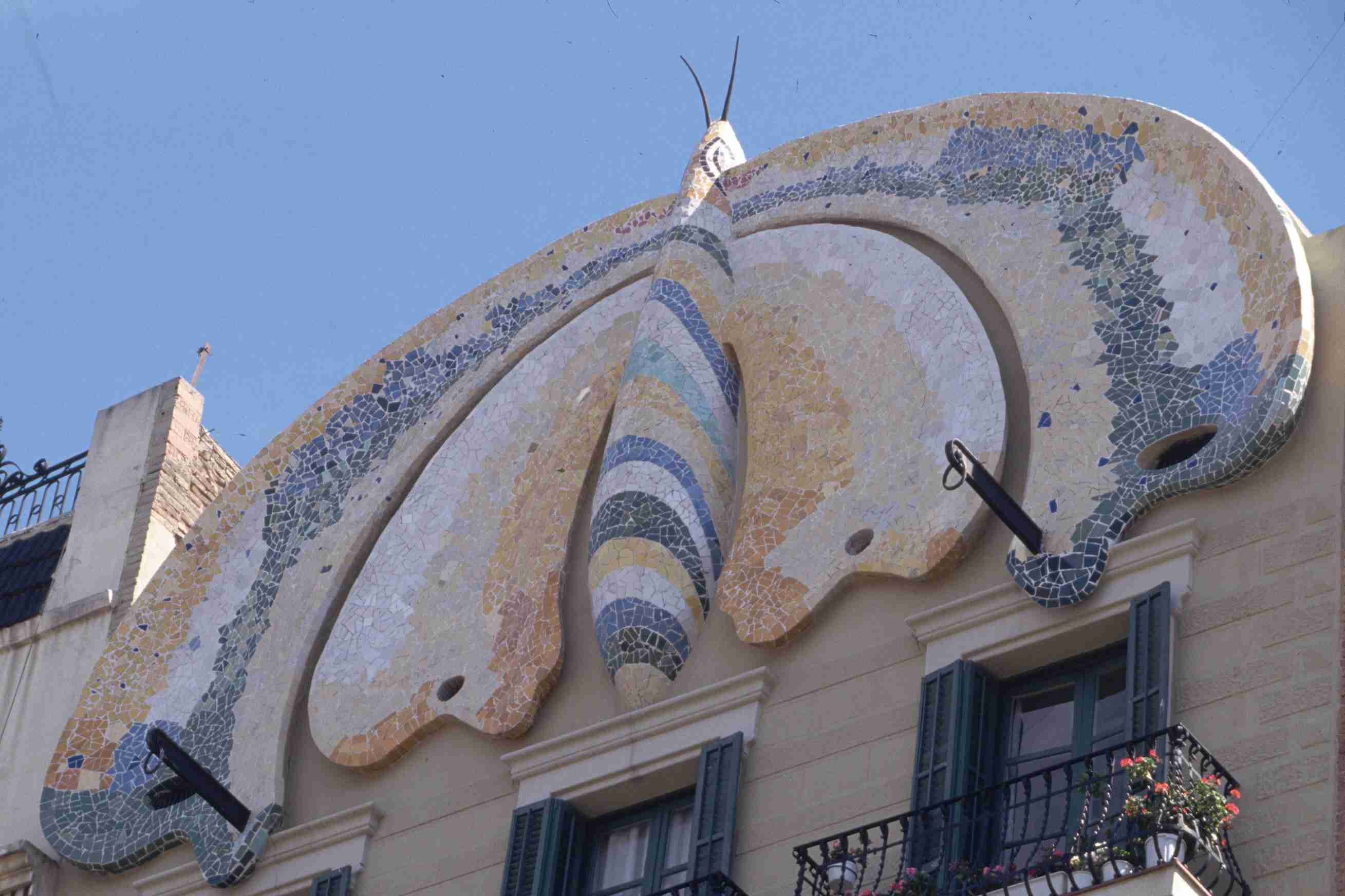 A Gable Formed as a Mosaic Butterfly, Barcelona, Spain