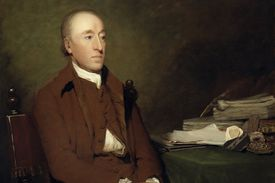 Painting of James Hutton seated at a table
