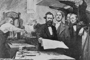 Friedrich Engels and Karl Marx During Press Operations