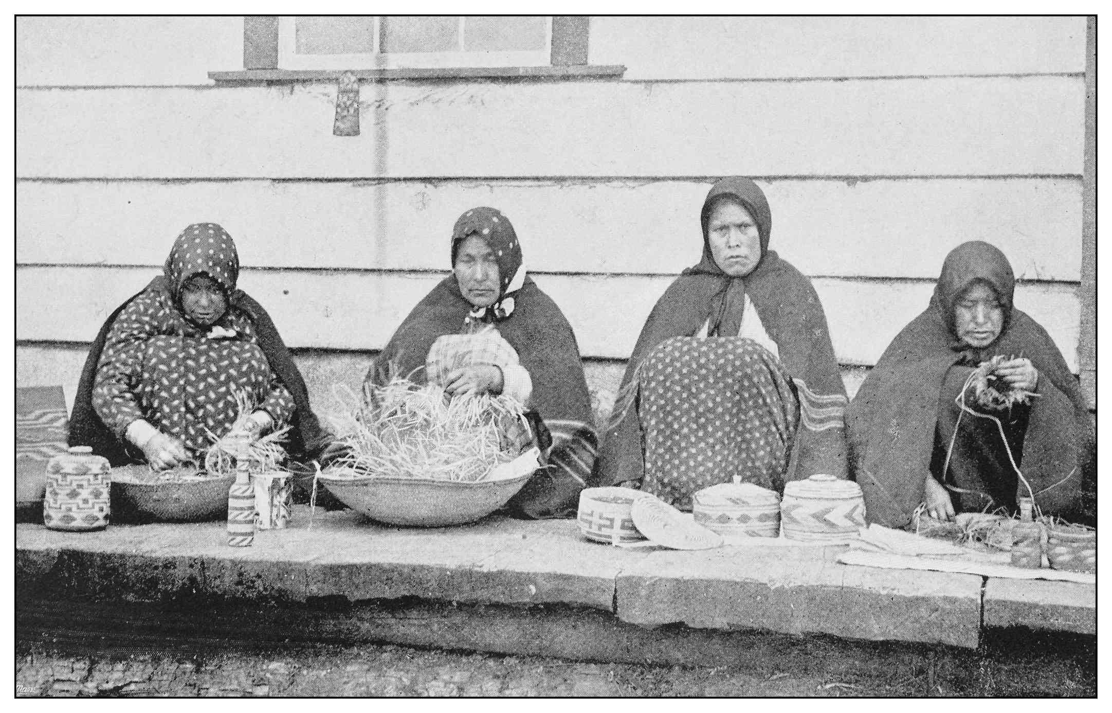 Indigenous basket weavers, Sitka, Alaska