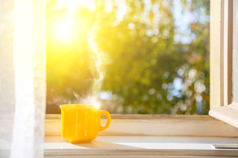 Cup on the window with sun and defocused nature background