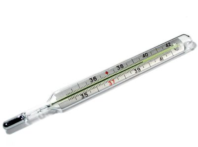 An old style mercury thermometer, which isn't safe if it breaks, and could be hard to read anyway.