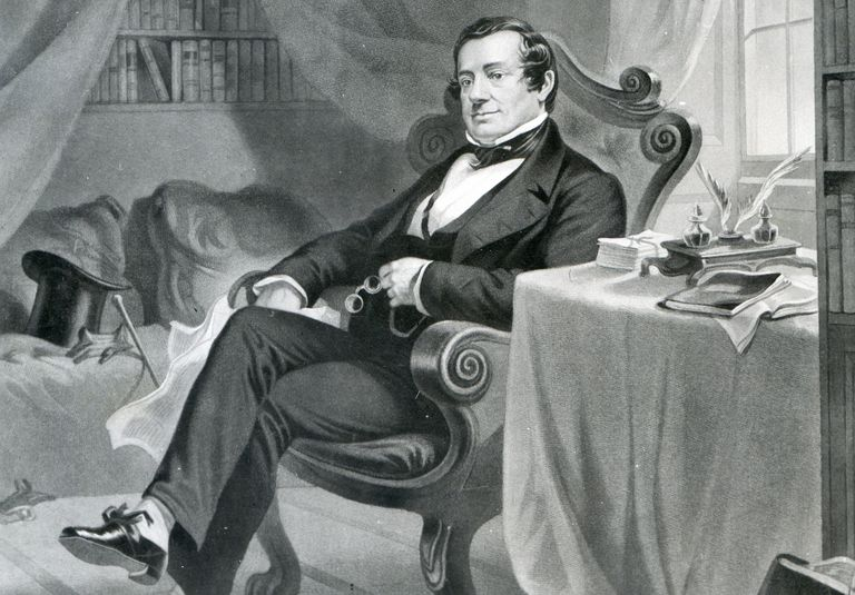 Engraved portrait of Washington Irving in his study
