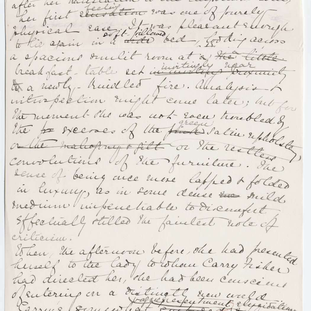 Page from original manuscript of The House of Mirth