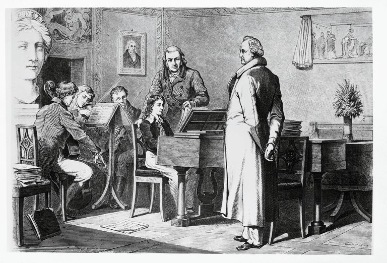 Felix Mendelssohn (1809- 1847) playing the piano for the writer Johann Wolfgang von Goethe, engraving