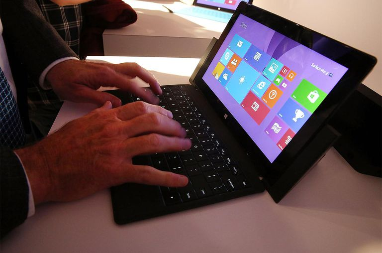 Technology writers try-out the new line-up of second generation Surface tablets on September 23, 2013 in New York City