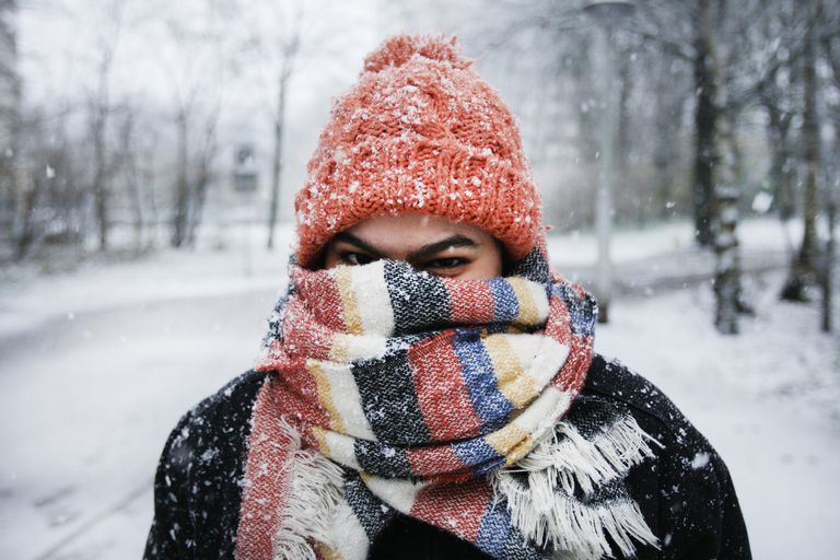 A woman bundled up against the cold with hat and scarf