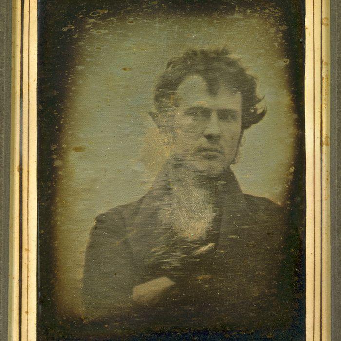Robert Cornelius, self-portrait; believed to be the earliest extant American portrait photo
