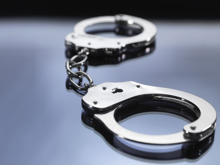 Close up of metal handcuffs