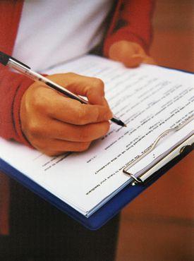Filling out a questionnaire