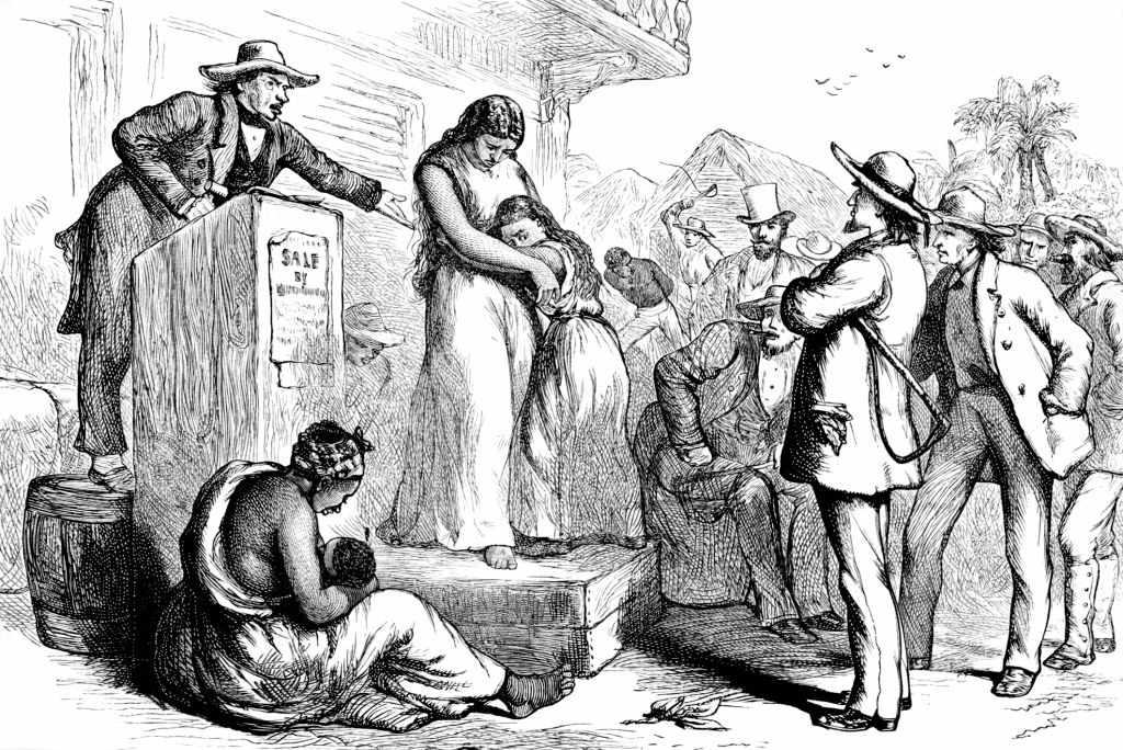 Illustration of a slave auction, 1850.