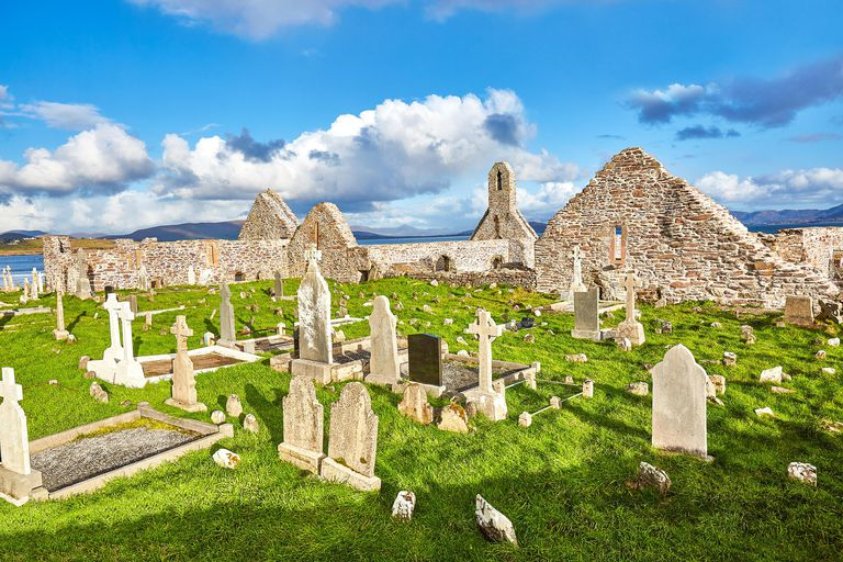 Ruins of Ballinskelligs Priory and Cemetery, Ballinskelligs, Ireland