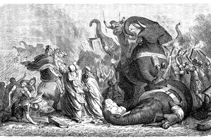 Black and white drawing depicting King Pyrrhus during one of his battles.