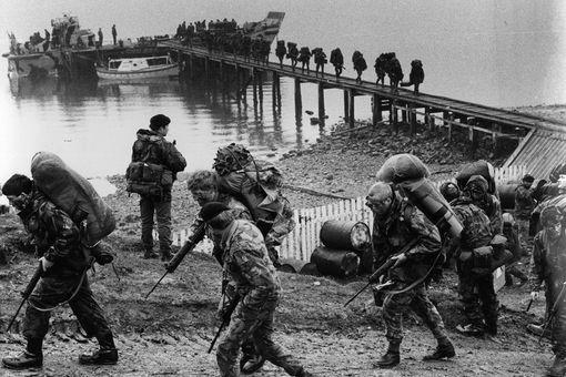 British troops during the Falklands War.