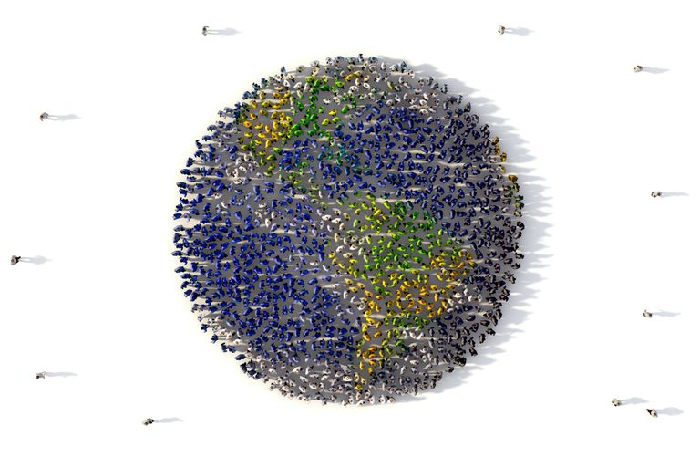 A large community network of people form the image of planet earth