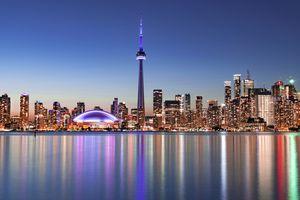 City skyline reflected in Lake Ontario