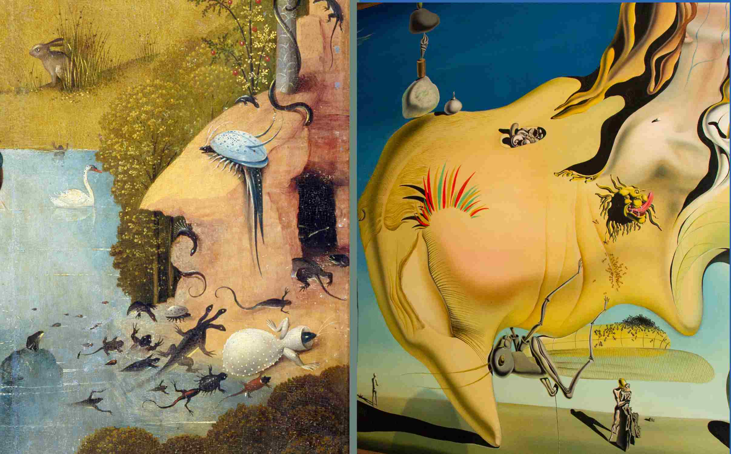 Surrealistic rock formations painted by Bosch and Salvador Dali