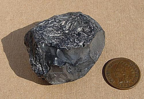 Chunk of obsidian rock pictured with a coin for scale on a neutral background.