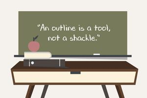Outline graphic of a quote on a blackboard.