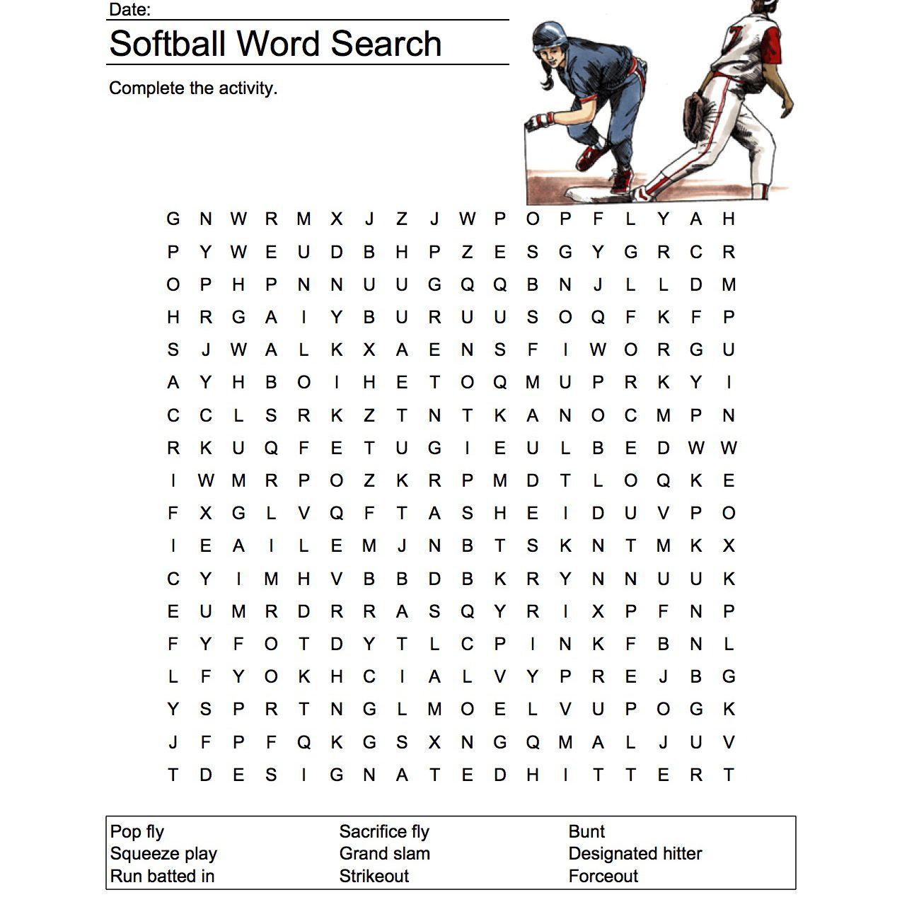 Softball Word Search