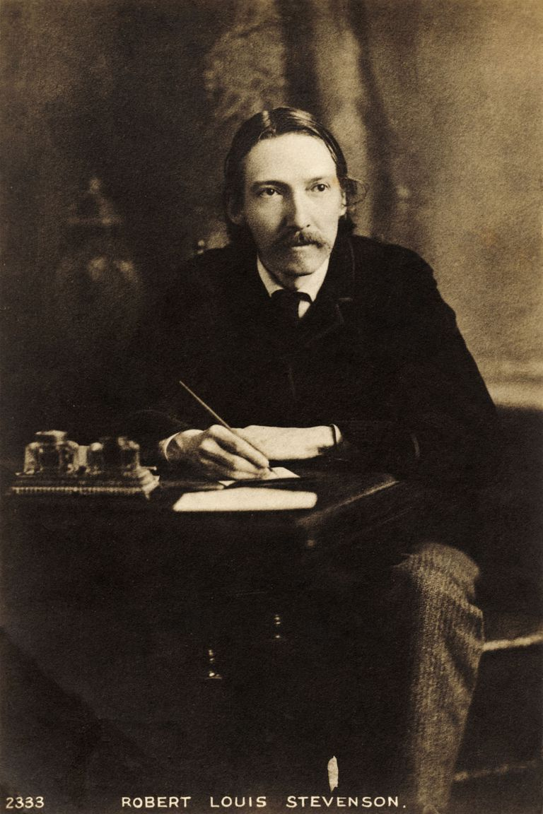 Robert Louis Stevenson, writing at his desk. English author