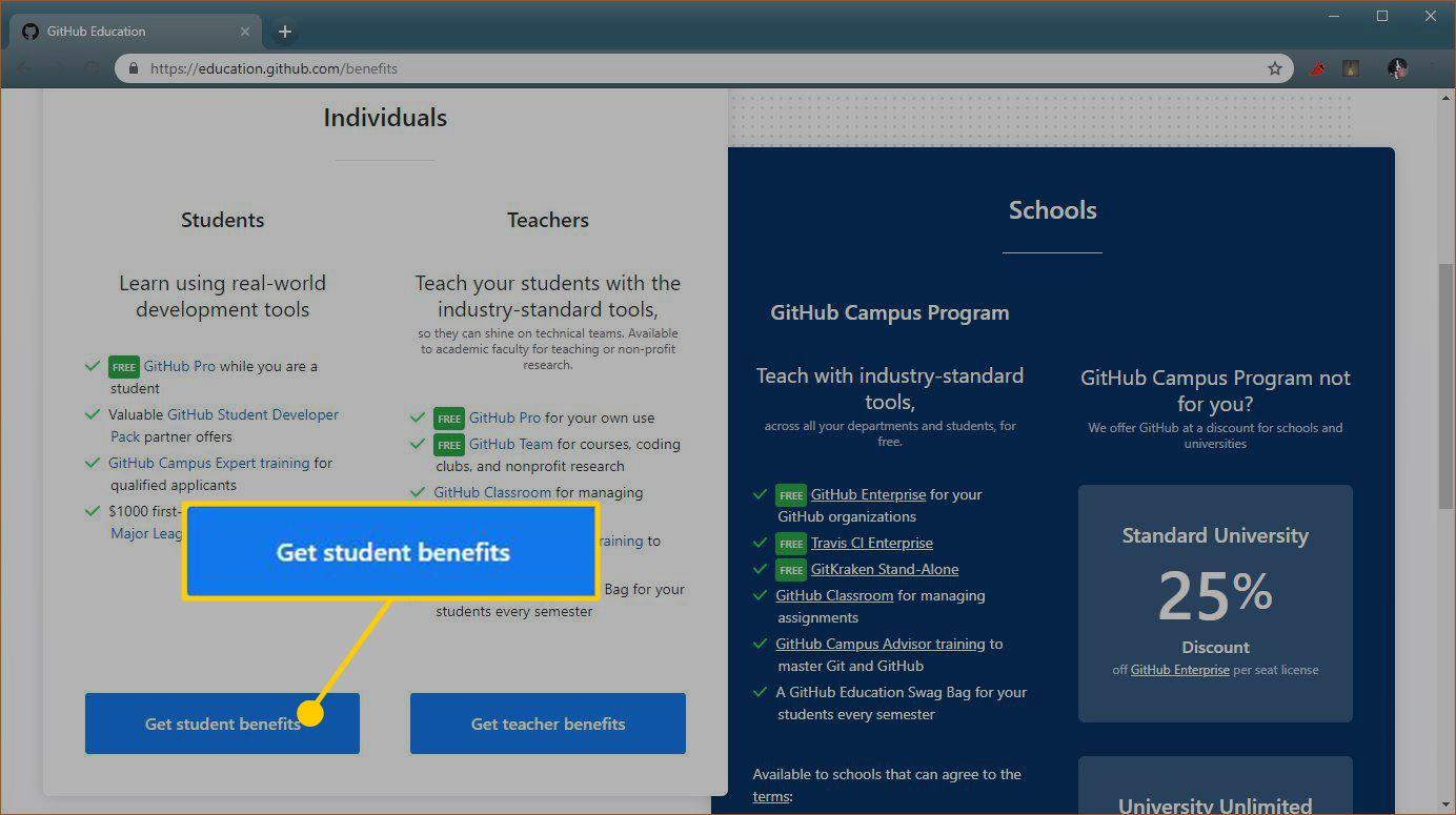 A screenshot of the GitHub student benefits sign up page.