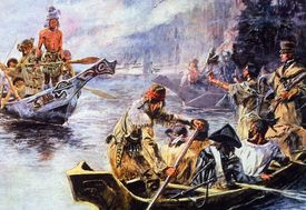 Painting of Lewis and Clark on the lower Columbia River