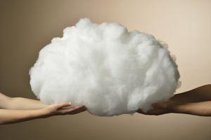 Hands holding cloud