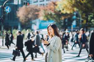 Japanese woman with phone